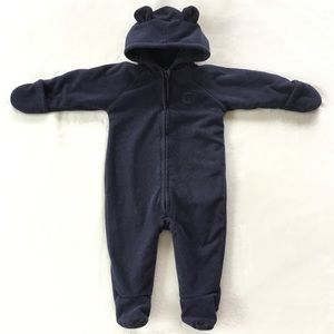 Navy blue fleece suit with ears for baby